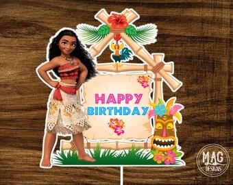 Moana centerpiece - Moana printable centerpiece - Moana cake topper - Moana birthday party - Moana - Instant Download