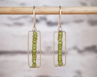Peridot Earrings, Gemstone Earrings, Green Earrings, Peridot Jewelry, Gemstone Jewelry, Wire Earrings, Silver Peridot, Long Earrings