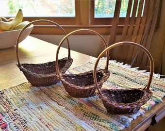 Nesting Wicker Baskets Miniature Made in Peoples Republic of China Baskets for Floral Arrangements Easter Baskets Candy Baskets