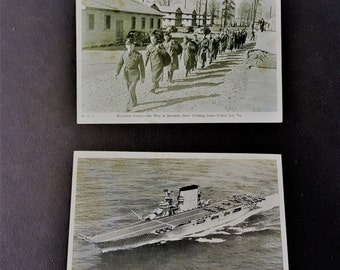 Navy Photo Post Card Vintage The Lexington AKA the Blue Ghost WW2 Aircraft Carrier Reception Center Camp Lee, VA, Navy Post Card Photos