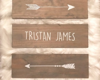 Child and Baby Room Arrow and Name Wooden Signs for Woodland or Teepee/Dreamcatcher Theme