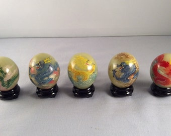 ON SALE:  Vintage Oriental Eggs in Case - 5 Eggs with Paintngs of Dragons on each One
