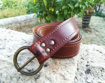 Soft brown leather belt-length 125 cm
