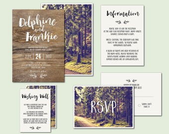 PRINTED vintage forest wedding invitation suite, forest wedding, woods wedding invitation, into the woods, woodland, rustic, wood, (Elodie)
