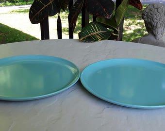 Vintage Turquoise Blue Durawear Melmac Bread/ Dessert Plates