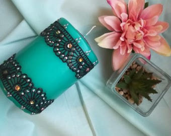 Hand Decorated Blue Candle/ Gift Idea