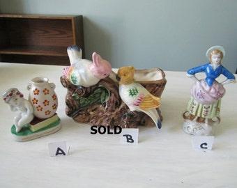 Vintage Made in Occupied Japan Female Figurne, Female sitting on book figurine