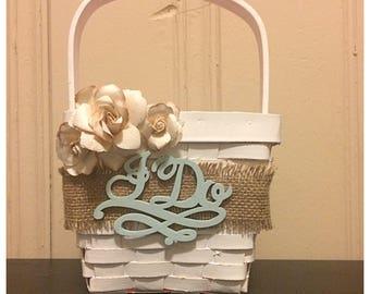 Flower girl basket, flower girl, basket, wedding, wedding decor, i do, mr and mrs, rusic wedding