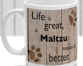 Maltzu dog mug, Maltzu  gift, dog breed mug, ideal present for dog lover