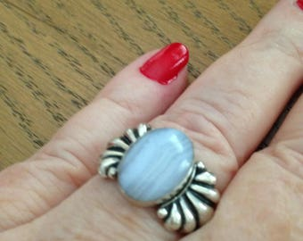Carolyn Pollack Blue Banded Agate Ring