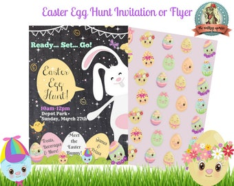 Easter Egg Hunt Invitation, Easter Egg Hunt Flyer, Easter Egg Hunt Sign, Easter Egg Hunt Printable, Easter Egg Poster, INSTANT DOWNLOAD