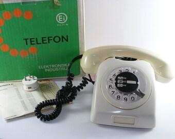 White Vintage Ei Pupin Round Dial Telephone Yugoslavia GREAT Condition ORIGINAL Box