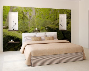 forest wall mural, tree wallpaper, self adhesive photo mural