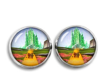 Wizard of Oz Stud Earrings Emerald City Earrings 12mm  Fandom Jewelry Geeky Fangirl Fanboy