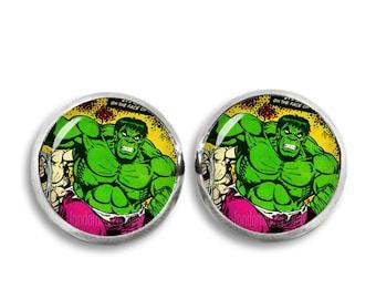 Hulk Earrings Hulk Stud Earrings Hulk Comic 12mm Fandom Jewelry Geeky Cosplay Fangirl Fanboy