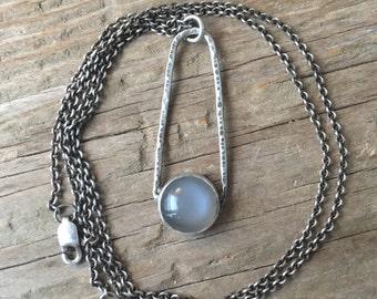 Grey Moonstone Pendant - Moonstone Necklace - Grey Moonstone - Gray Moonstone - Orion Necklace - Silver Necklace - Boho Necklace - 17001
