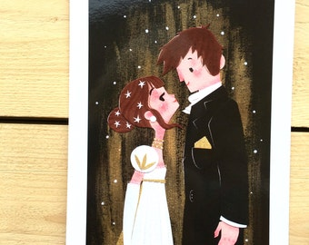 Mrs & Mr Darcy print card home decor valentine's day