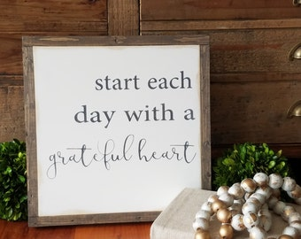 Start Each Day With A Grateful Heart Framed Sign 1'x1'|Handpainted|Inspirational|Rustic|Distressed