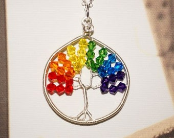 Rainbow Swarovski Crystal Tree of Life Pendant