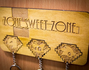 "Sonic the Hedgehog inspired ""Zone Sweet Zone"" Lasercut & engraved keyring and wall mount"