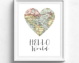 Hello World, Printable Map, Travel Theme Nursery, Map Decor, Vintage Map Decor, Map Print, Map Wall Art, Adventure Theme, Baby Shower Gift