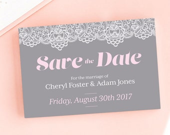 Modern Lace Save the Date/Wedding Announcement Cards