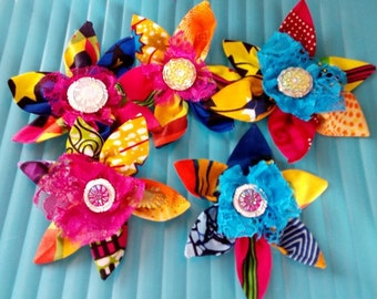 African print brooches