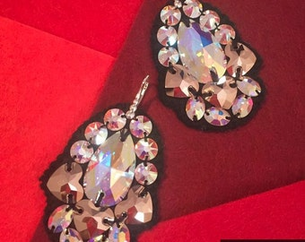 Handmade Fatimahand Earrings Genuine Swarovski Crystals