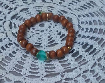 Bracelet of the wood of the apatite Blue Ridge rolled in the light of the sister friend