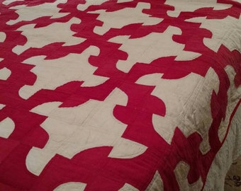 Early 1900's Drunkard's Path Red and White Quilt