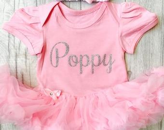 Personalised Silver glitter name, pink tutu romper with headband, princess, baby girl, newborn, present, gift, mummys girl, daddys girl