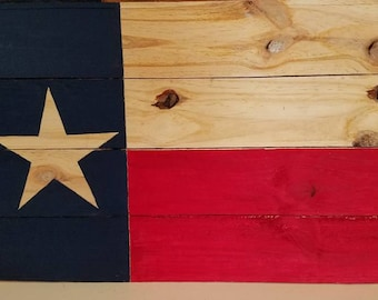 Solid Natural Rustic Wood Texas Flag Sign