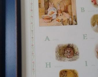 Beatrix Potter Nursery Print Framed in Blue