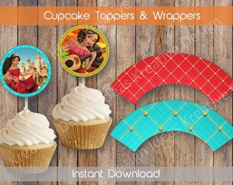 Elena of Avalor Cupcake Wrappers and Toppers Elena Digital Cupcake Toppers Elena Cupcake Wrapper Elena Printable Birthday INSTANT DOWNLOAD