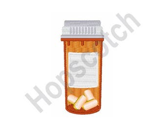 Pill Bottle - machine embroidery design