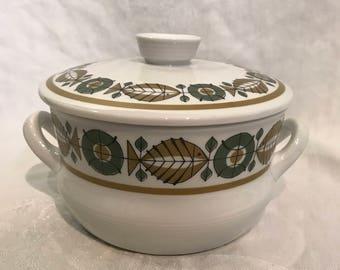 Rorstrand Sweden #632 Neptun Elfast-Handled Covered Casserole Dish Bowl