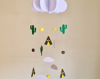 3D cloud, Teepee, Cactus and mini cloud baby mobile