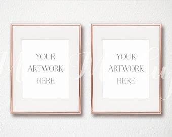 8x10 digital set of 2 rose gold frame mockup portrait stock photo styled photography mock up prints instant download