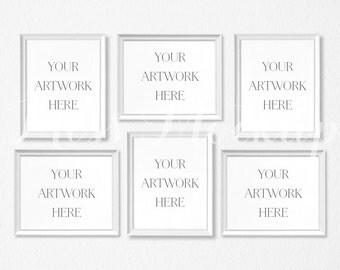 8x10 Set of 6 DIGITAL White Frame Mockup (Portrait/Landscape) - Stock Photo, Styled Photography, Mock up, prints, INSTANT DOWNLOAD