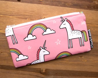 Unicorn Pencil Pouch - Zipper Pouch - Unicorn Gifts - Cute Pencil Case - Zip Pouch - Pink Makeup Pouch - Cosmetic Pouch - Pink Pencil #21