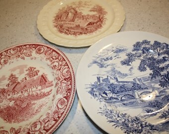 Collection of Blue and red Transferware plates