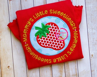 Mommy's Sweetheart embroidery design, Strawberry applique design