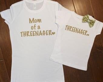 Three Birthday Shirt, Mom and daughter birthday set, Threenager Shirt, 3rd Birthday Shirt, Gold Birthday Shirt, Mom of Threenager Shirt