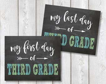 "First Day And Last Day Of Third Grade Chalkboard Sign 8"" x 10"" DIGITAL DOWNLOAD School Print Set"