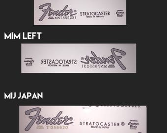 Fender Strat Stratocaster MIM Made in Mexico & MIJ Made In Japan Waterslide Headstock Decal Logo