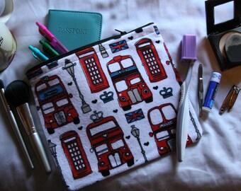London Buses Travel Makeup Bag