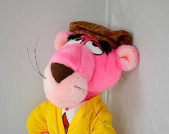 Pink Panther Plush Posable Doll Dressed with Tie, Cardigan, Trousers and Cap
