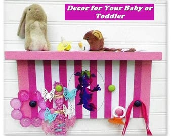 """Nursery or Kids' Room Organizer Shelf Featuring 'Movi' the Monster Kid. 15""""x7""""x4"""". Children Love the Happy Monster. Great New Baby Gift"""