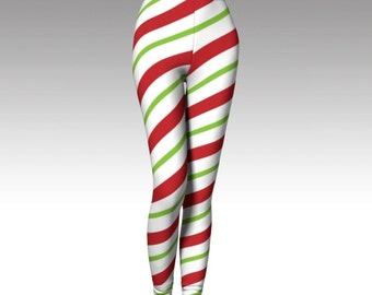 Candy Cane Leggings, Christmas Leggings, Christmas Clothing, Yoga Wear, Printed Leggings, Women's Leggings, Yoga Leggings, Activewear, Style