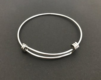 Stainless Steel Adjustable Bangle. Adjustable Stainless Steel Bracelet Bangles. Expandable Bangle.Handmade Jewelry Supplies. Craft Supplies.
